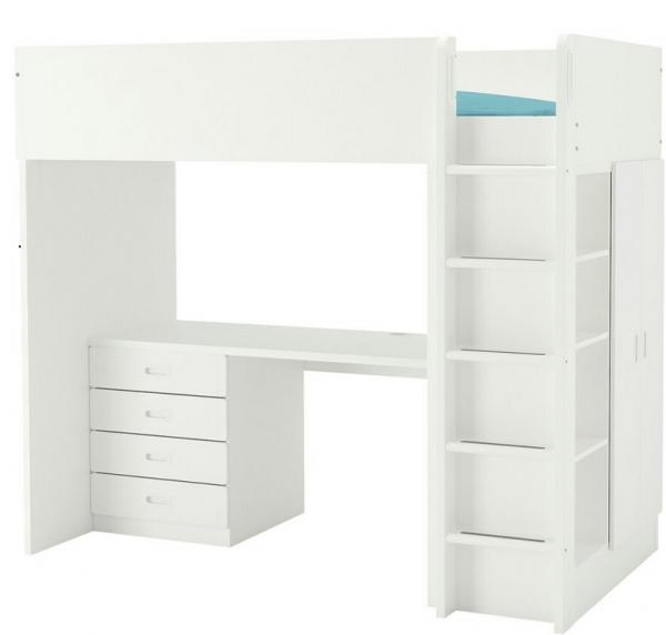 Loft bed, 2 doors wardrobe,  and open shelving units