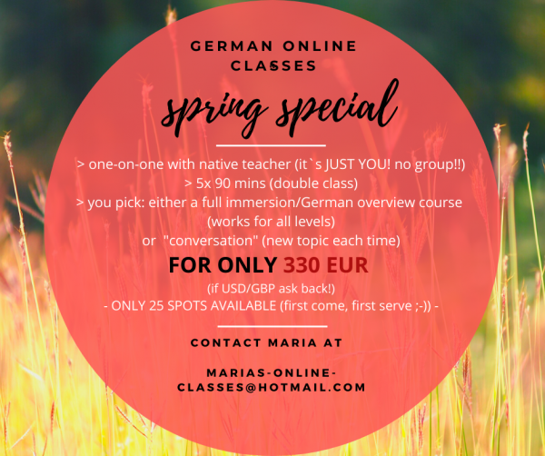 GERMAN ONLINE CLASSES: 330,- GBP - 10 one-on-one classes (5x 90mins)