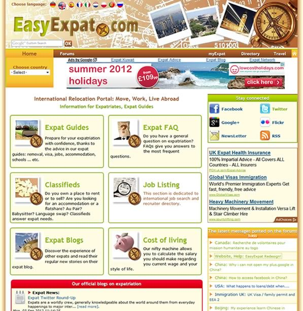 EasyExpat.com: new home page