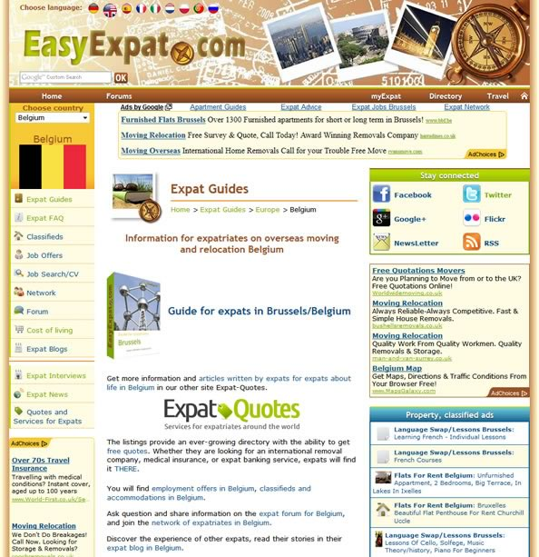 Internal page of EasyExpat.com