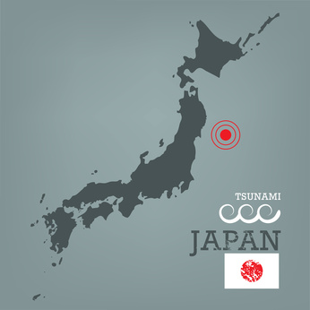 Japan map with seismic epicenter © Yummyphotos - Fotolia