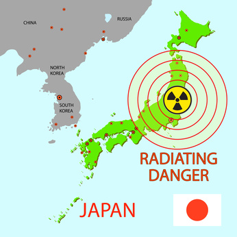 Japan map with danger on an atomic power station © Arrows - Fotolia