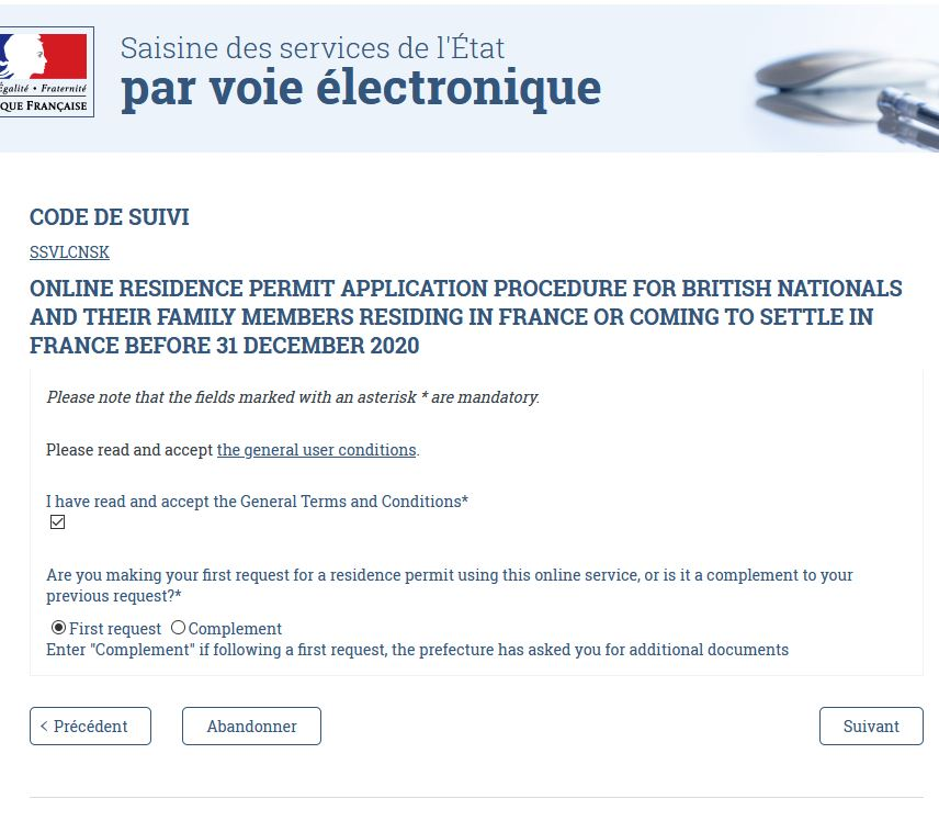 Screenshot of the French website to apply for residency